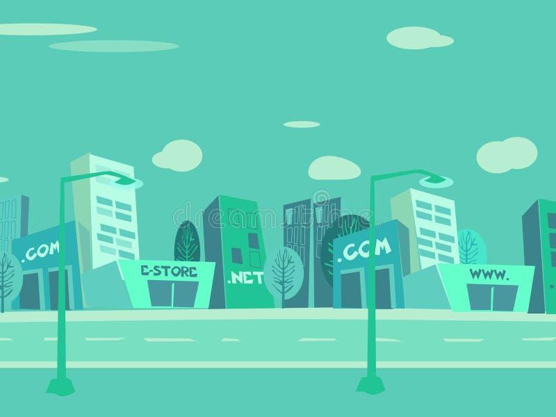 πόλη κινούμενων σχεδίων αν&al απεικόνιση αποθεμάτων
