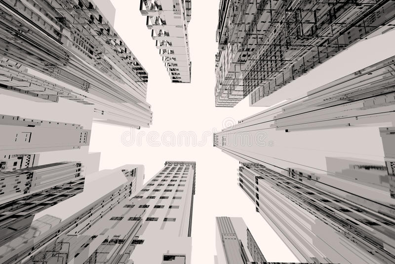 πόλη κτηρίων ψηλή ελεύθερη απεικόνιση δικαιώματος
