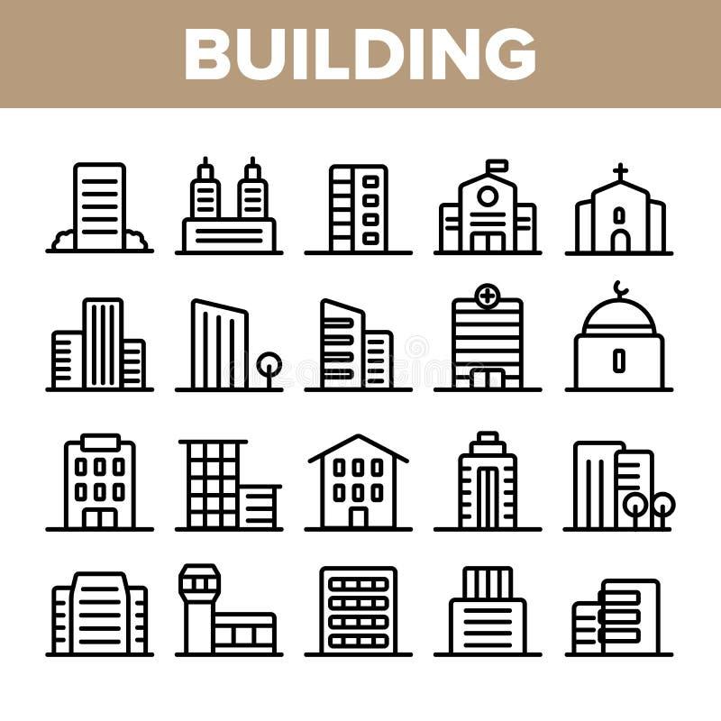 Πόλη, κωμοπόλεων διανυσματικό σύνολο εικονιδίων κτηρίων γραμμικό απεικόνιση αποθεμάτων