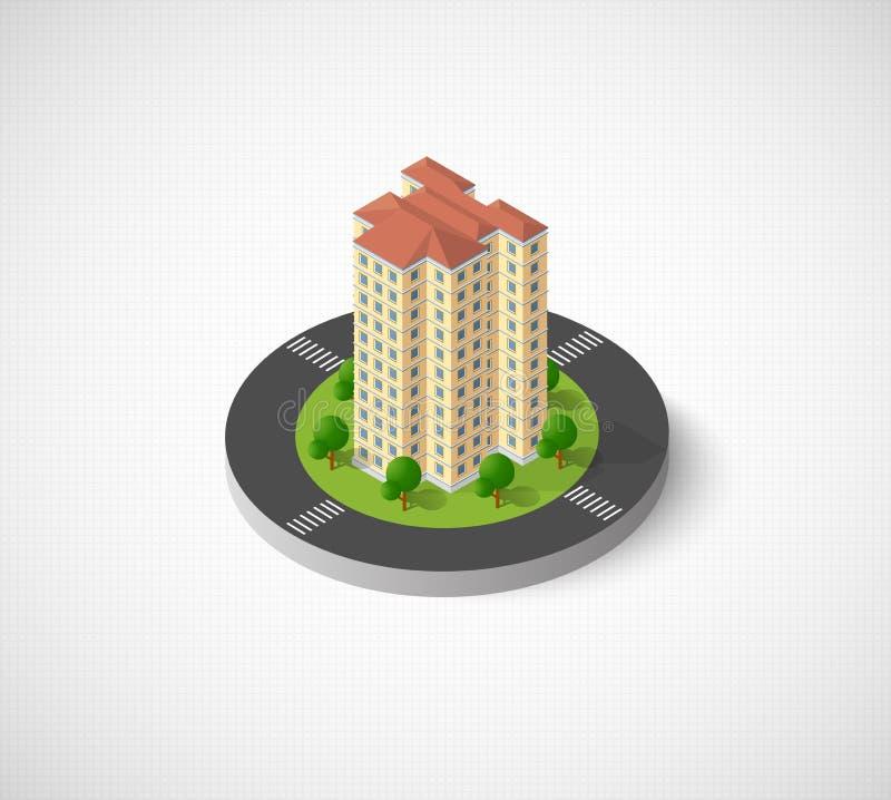 Πόλη με τα isometric σπίτια απεικόνιση αποθεμάτων