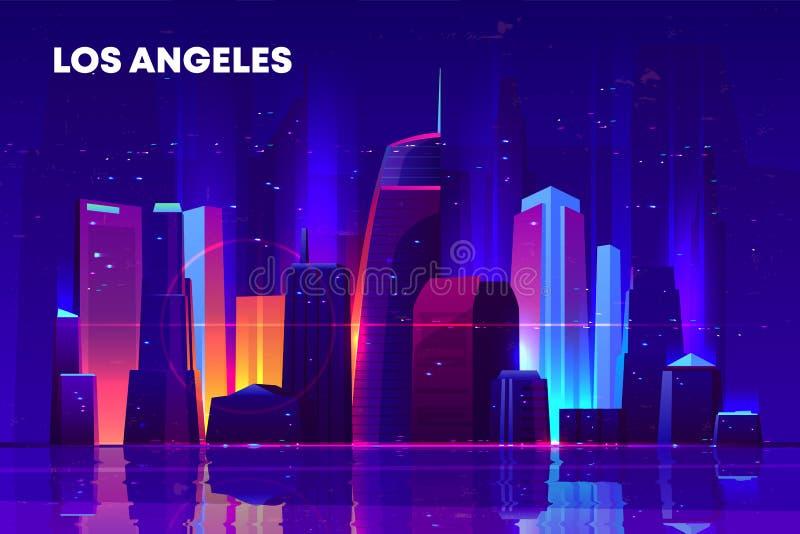 Πόλη νύχτας του Λος Άντζελες με το φωτισμό νέου απεικόνιση αποθεμάτων