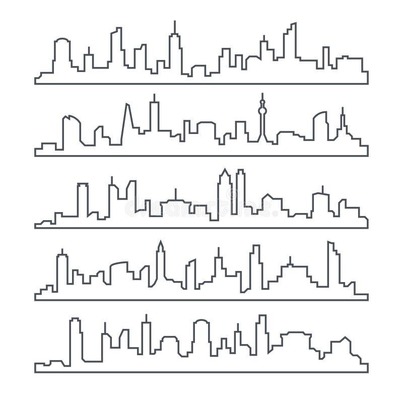 Πόλη οριζόντων Γραμμή κτηρίου πόλης Αστικό διανυσματικό σύνολο εικονικής παράστασης πόλης περιλήψεων που απομονώνεται ελεύθερη απεικόνιση δικαιώματος