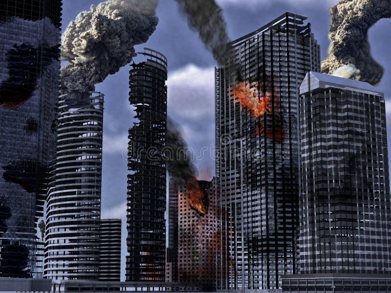 πόλη που καταστρέφεται διανυσματική απεικόνιση