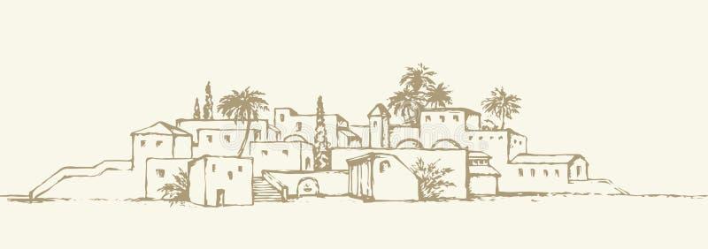 Πόλη σε μια έρημο ανασκόπηση που σύρει το floral διάνυσμα χλόης διανυσματική απεικόνιση