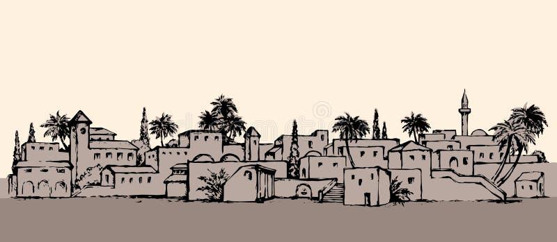 Πόλη σε μια έρημο ανασκόπηση που σύρει το floral διάνυσμα χλόης ελεύθερη απεικόνιση δικαιώματος