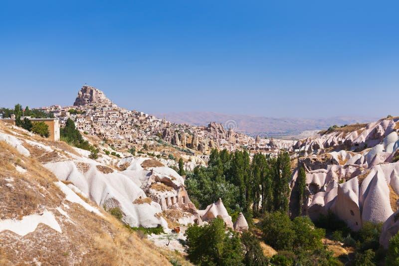 Πόλη σπηλιών Uchisar σε Cappadocia Τουρκία στοκ φωτογραφίες