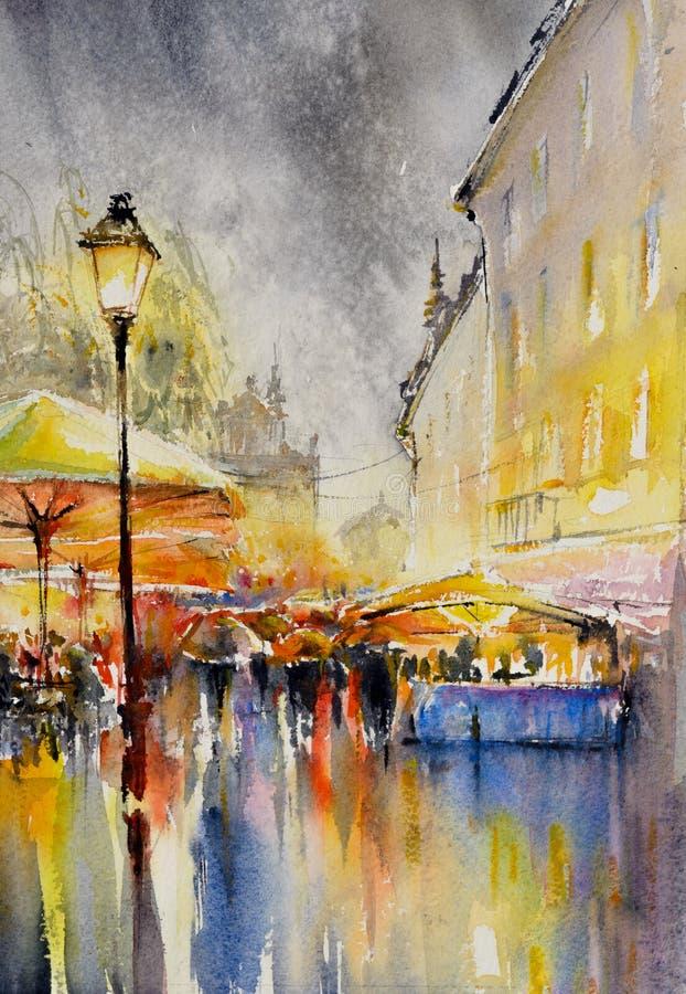 Πόλη στα watercolors βροχής που χρωματίζονται απεικόνιση αποθεμάτων