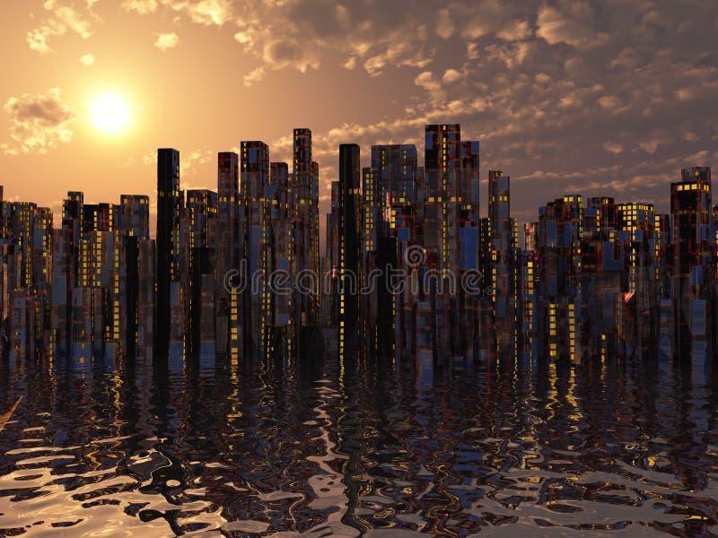 Πόλη στο ύδωρ διανυσματική απεικόνιση