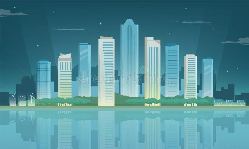 πόλη σύγχρονη landscape urban Κτήρια και αρχιτεκτονική Πόλη εικονικής παράστασης πόλης διάνυσμα απεικόνιση αποθεμάτων