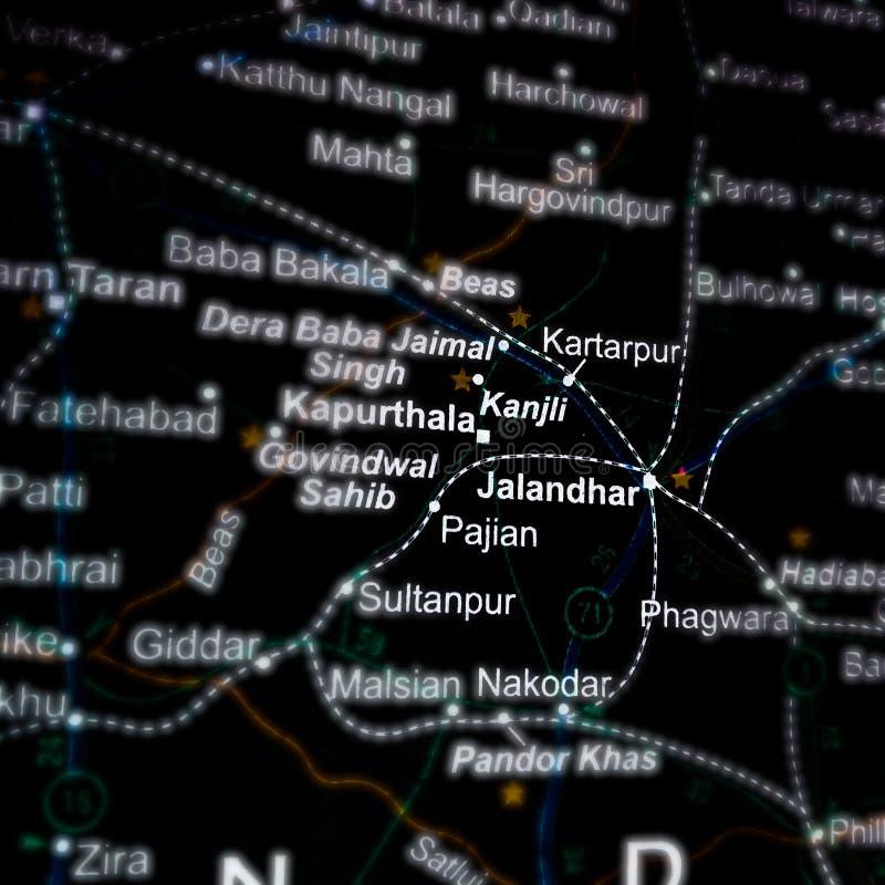 πόλη τζαλαντάρ στο panjab που απεικονίζεται στο χάρτη γεωγραφικής θέσης στην Ινδία στοκ εικόνα με δικαίωμα ελεύθερης χρήσης