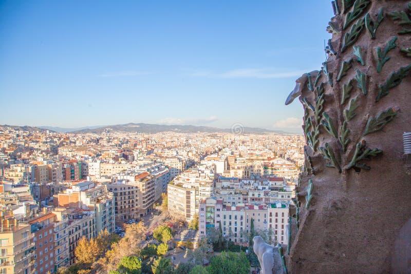 Πόλη της Βαρκελώνης, Ισπανία Άποψη από Sagrada FamÃlia στοκ φωτογραφίες με δικαίωμα ελεύθερης χρήσης