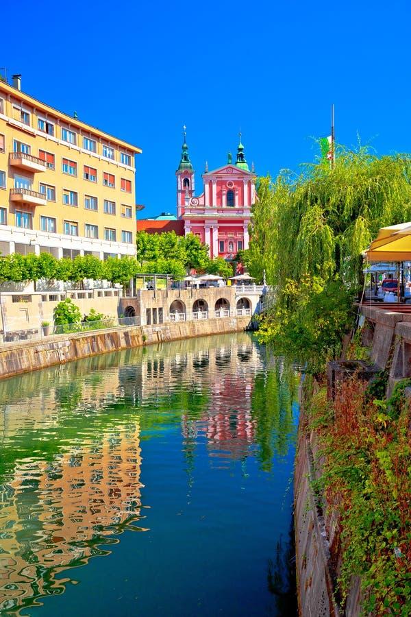 Πόλη της ιστορικής άποψης riverfont του Λουμπλιάνα στοκ φωτογραφία