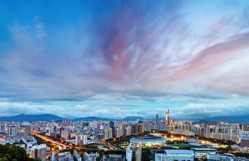 Πόλη της Κίνας ` s Shenzhen στη νύχτα στοκ φωτογραφία με δικαίωμα ελεύθερης χρήσης