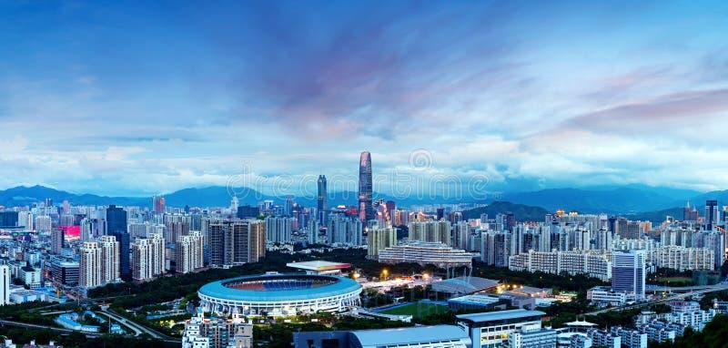 Πόλη της Κίνας ` s Shenzhen στη νύχτα στοκ φωτογραφίες με δικαίωμα ελεύθερης χρήσης