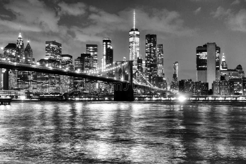 Πόλη της Νέας Υόρκης, οικονομική περιοχή στο χαμηλότερο Μανχάταν με Brookl στοκ εικόνα
