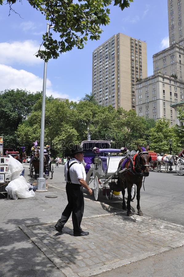 Πόλη της Νέας Υόρκης, την 1η Ιουλίου: Μεταφορά αλόγων στο Central Park στο της περιφέρειας του κέντρου Μανχάταν από πόλη της Νέας στοκ φωτογραφία με δικαίωμα ελεύθερης χρήσης