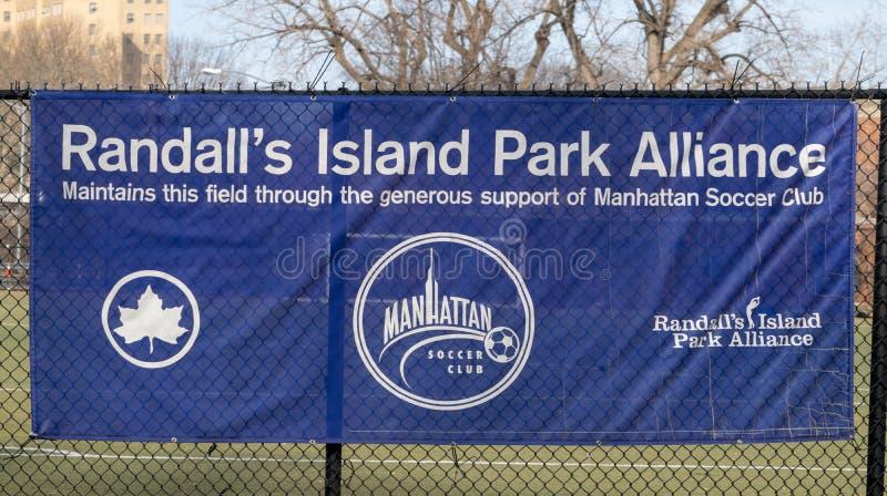 Πόλη της Νέας Υόρκης, NY/USA - 3/19/2019: Το έμβλημα συμμαχίας πάρκων νησιών του Randall στοκ εικόνες