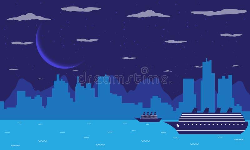 Πόλη τη νύχτα διανυσματική απεικόνιση