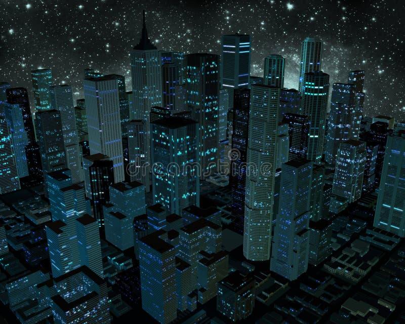 Πόλη τη νύχτα ελεύθερη απεικόνιση δικαιώματος