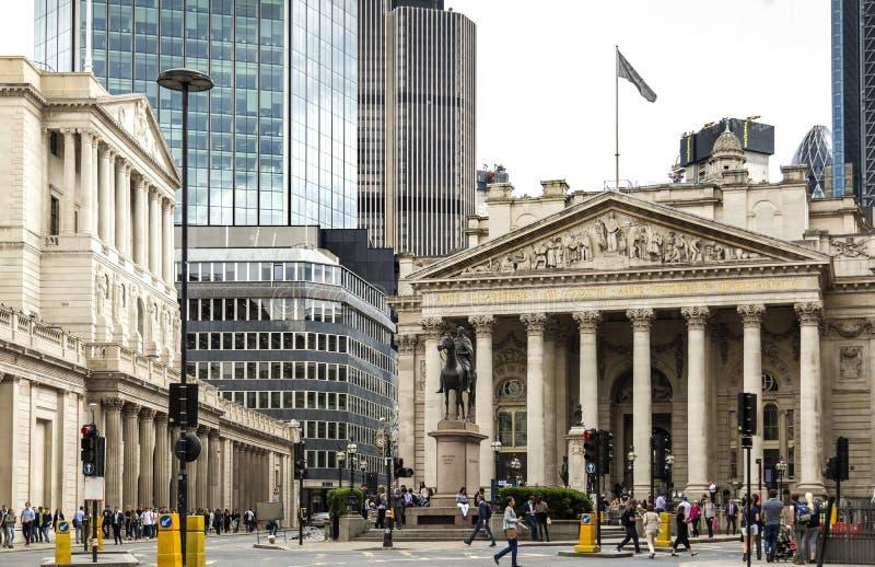 Πόλη του Λονδίνου συμπεριλαμβανομένης της Τράπεζας της Αγγλίας στοκ φωτογραφία με δικαίωμα ελεύθερης χρήσης