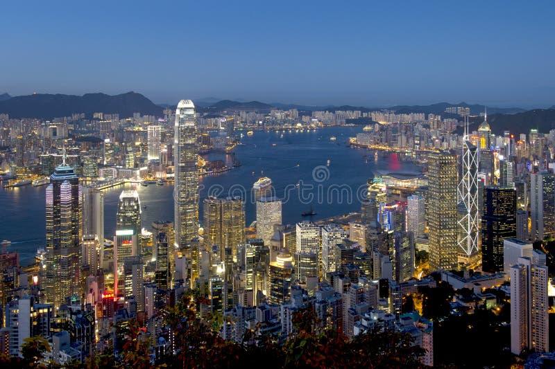 Πόλη του Χογκ Κογκ τη νύχτα στοκ φωτογραφίες με δικαίωμα ελεύθερης χρήσης