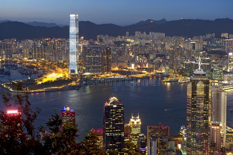 Πόλη του Χογκ Κογκ τη νύχτα στοκ φωτογραφία