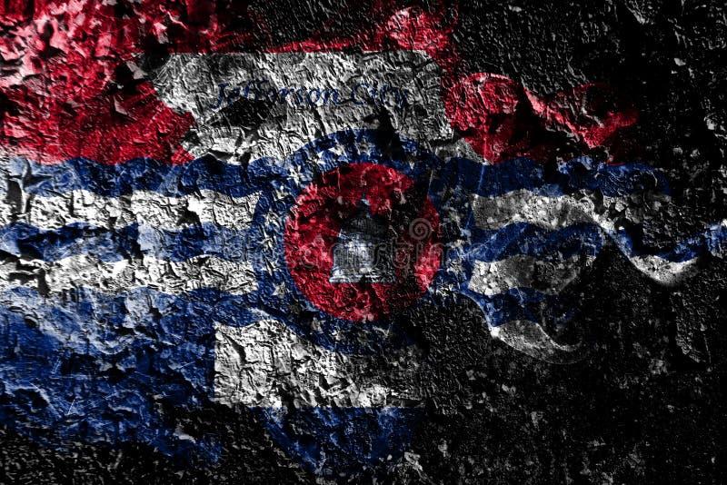Πόλη του Jefferson, καπνώδης μυστική σημαία του Μισσούρι στο παλαιό βρώμικ απεικόνιση αποθεμάτων