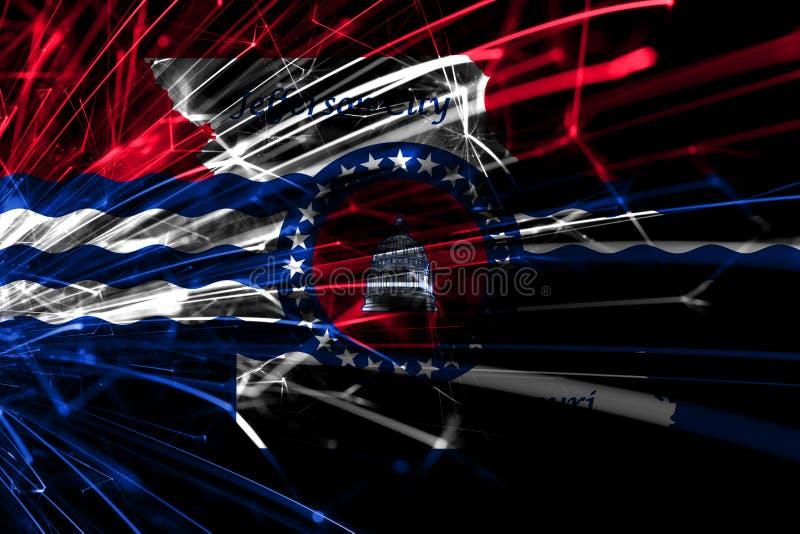 Πόλη του Jefferson, λαμπιρίζοντας σημαία πυροτεχνημάτων του Μισσούρι αφηρημένη Νέα έννοια έτους, Χριστουγέννων και εθνικής μέρας  ελεύθερη απεικόνιση δικαιώματος