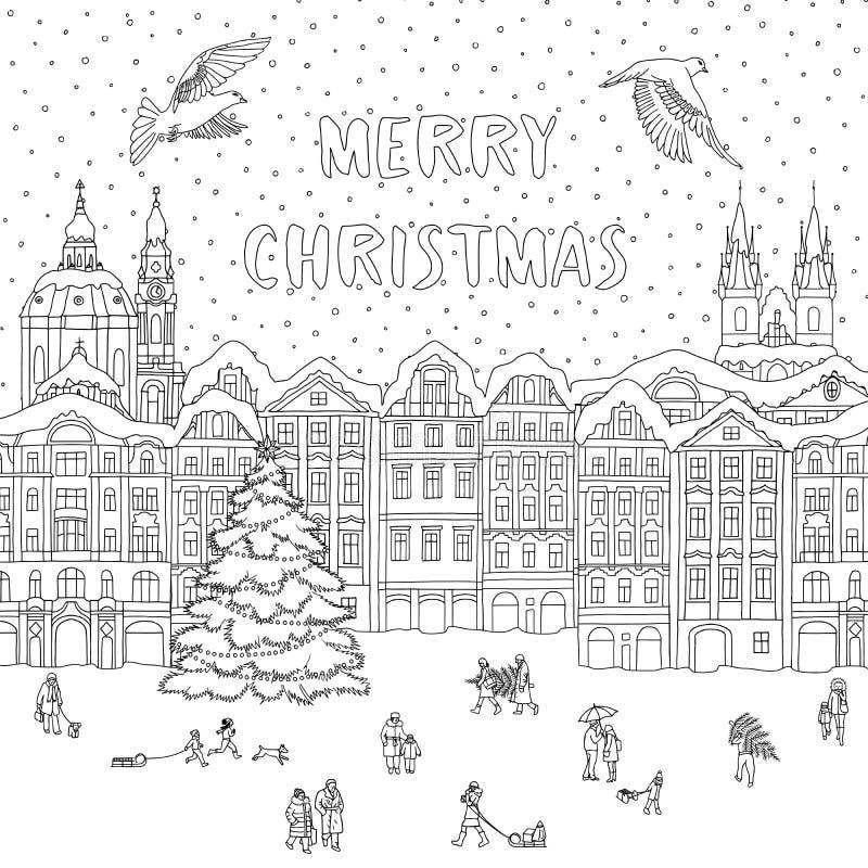Πόλη το χειμώνα στο χρόνο Χριστουγέννων ελεύθερη απεικόνιση δικαιώματος