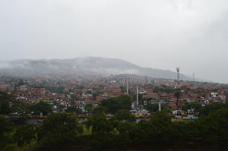 Πόλη τραγουδιών Medellin και cablecar στοκ φωτογραφία
