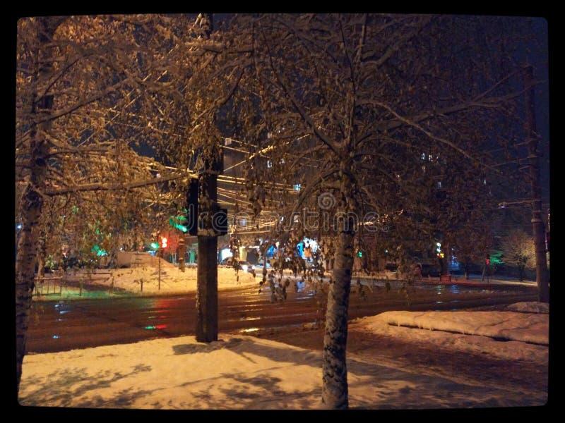 Πόλη χειμερινών κωμοπόλεων νύχτας στοκ εικόνα