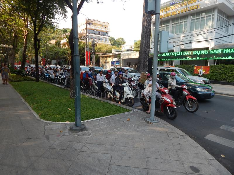 Πόλη Χο Τσι Μινχ Βιετνάμ 01/29/2016 Κυκλοφοριακή συμφόρηση σε μια οδό στοκ εικόνα