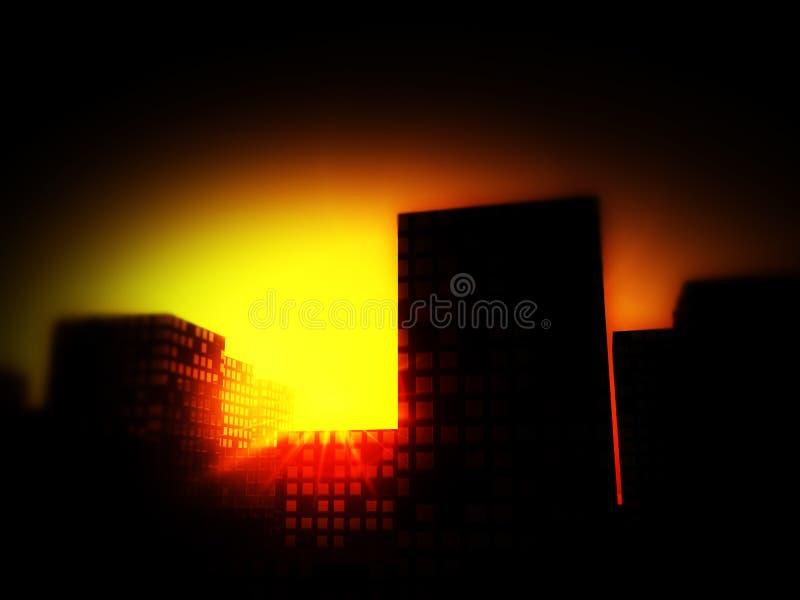 Πόλη 5 ηλιοβασιλέματος απεικόνιση αποθεμάτων