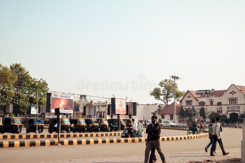 Πόλη Bilaspur, Ινδικό κρατίδιο Τσατίσγκαρ, Ινδία, Δεκέμβριος 2018 - Άποψη της πόλης Bilaspur στην Ινδία Τοπίο της Ινδικής πόλης στοκ φωτογραφίες
