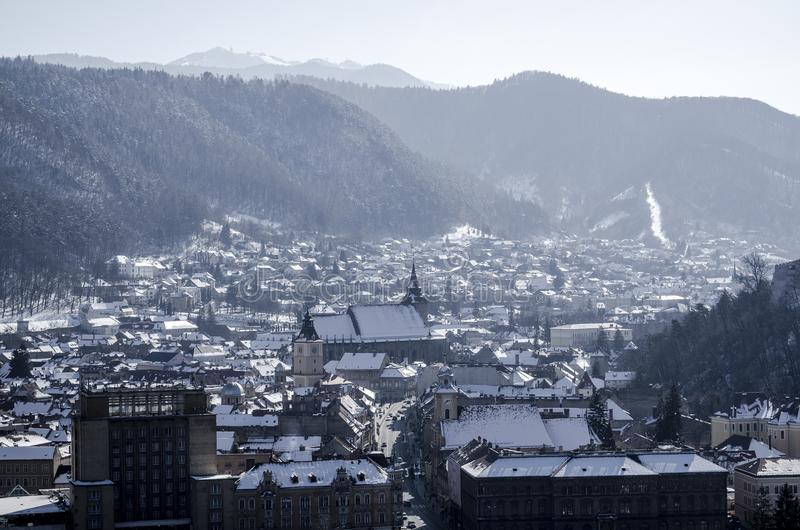 Πόλη Brasov, Ρουμανία, στο χειμώνα στοκ εικόνα