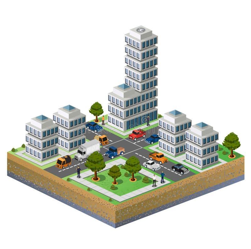 πόλη isometric ελεύθερη απεικόνιση δικαιώματος