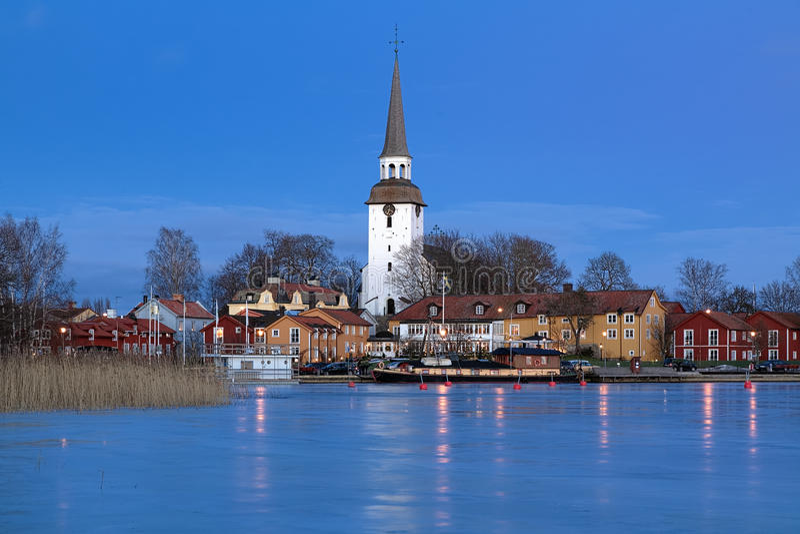 Πόλη Mariefred το χειμερινό βράδυ, Σουηδία στοκ εικόνες με δικαίωμα ελεύθερης χρήσης