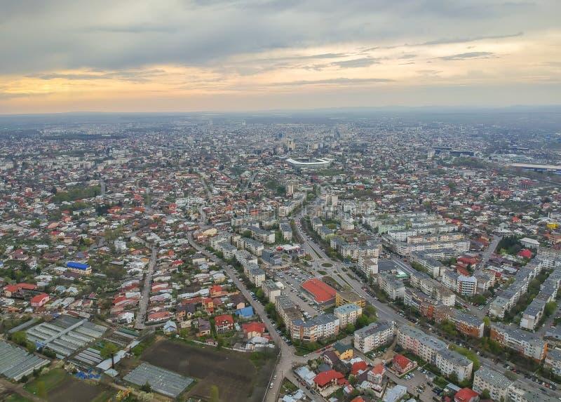 Πόλη Ploiesti, Ρουμανία, πανοραμική εναέρια άποψη ανατολικών πλευρών στοκ φωτογραφία με δικαίωμα ελεύθερης χρήσης