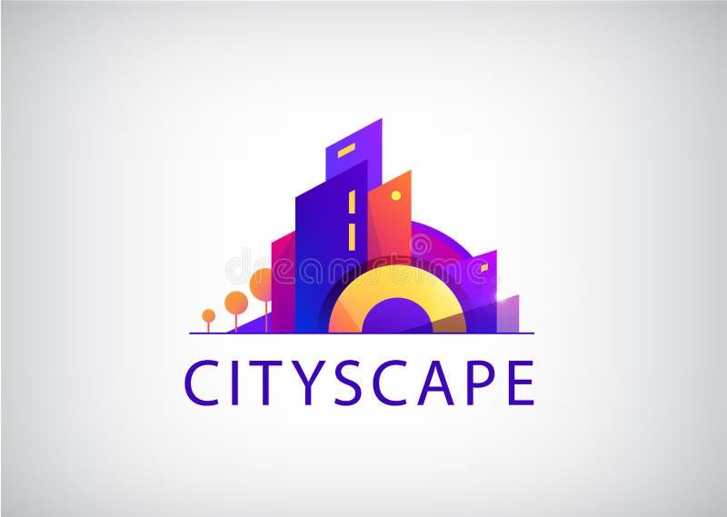 Πόλη Vecrtor scape, λογότυπο αντιπροσωπειών ακίνητων περιουσιών Σύγχρονη ζωηρόχρωμη απεικόνιση απεικόνιση αποθεμάτων