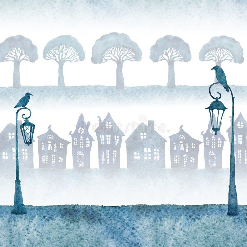 Πόλη Watercolor με τα στριμμένα σπίτια, τα δέντρα μπρόκολου και τα φανάρια eps 8 καρτών συμπεριλαμβανόμενο χαιρετισμός πρότυπο αρ διανυσματική απεικόνιση