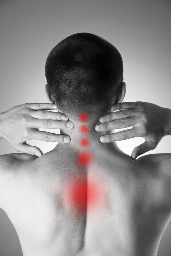 πόνος λαιμών Άτομο με τον πόνο στην πλάτη Πόνος στο ανθρώπινο σώμα στοκ εικόνα