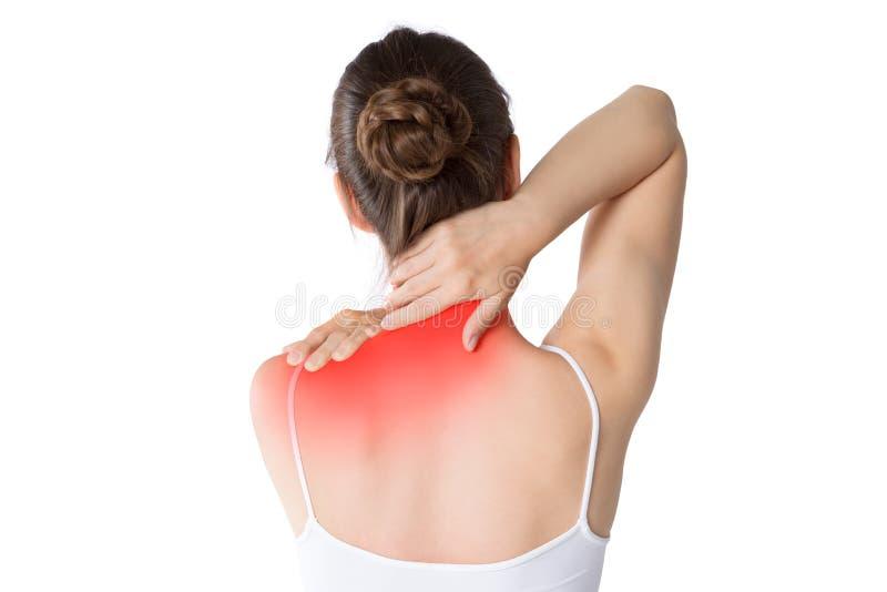 Πόνος λαιμών, γυναίκα με τον πόνο στην πλάτη που απομονώνεται στο άσπρο υπόβαθρο στοκ εικόνες