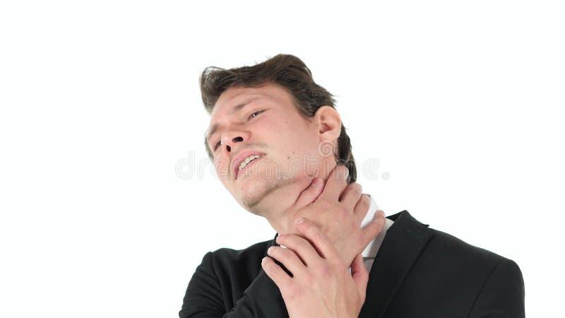 Πόνος λαιμών, κουρασμένος επιχειρηματίας στο άσπρο υπόβαθρο στοκ φωτογραφία