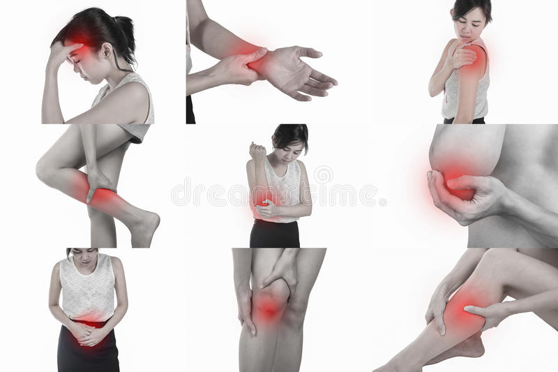 Πόνος σε ένα σώμα γυναικών ` s στο άσπρο υπόβαθρο με το ψαλίδισμα πλαισίων στοκ φωτογραφίες