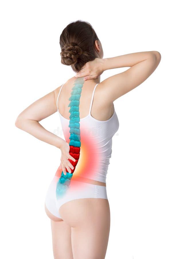 Πόνος στη σπονδυλική στήλη, μια γυναίκα με τον πόνο στην πλάτη, ζημία στην ανθρώπινη πλάτη, chiropractic έννοια επεξεργασιών που  στοκ φωτογραφία με δικαίωμα ελεύθερης χρήσης