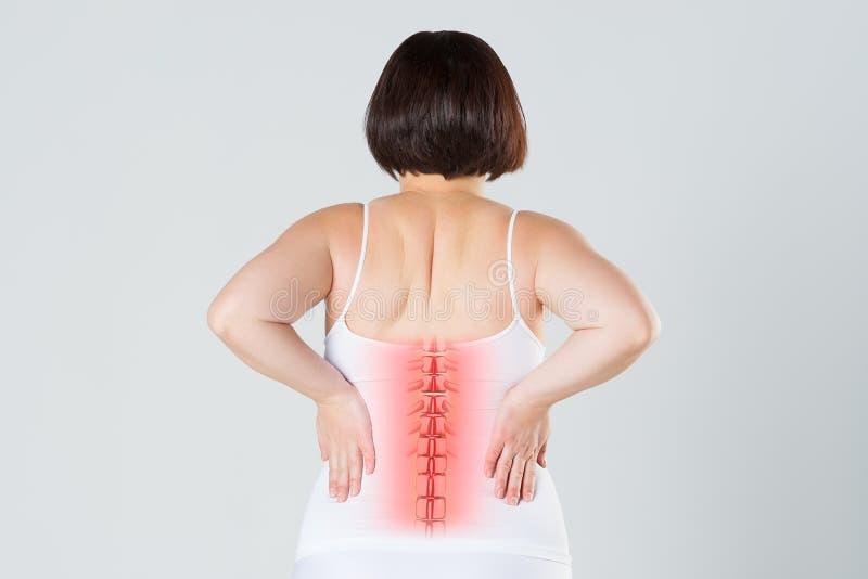 Πόνος στη σπονδυλική στήλη, μια γυναίκα με τον πόνο στην πλάτη, ζημία στην ανθρώπινη πλάτη, chiropractic έννοια επεξεργασιών στοκ εικόνες