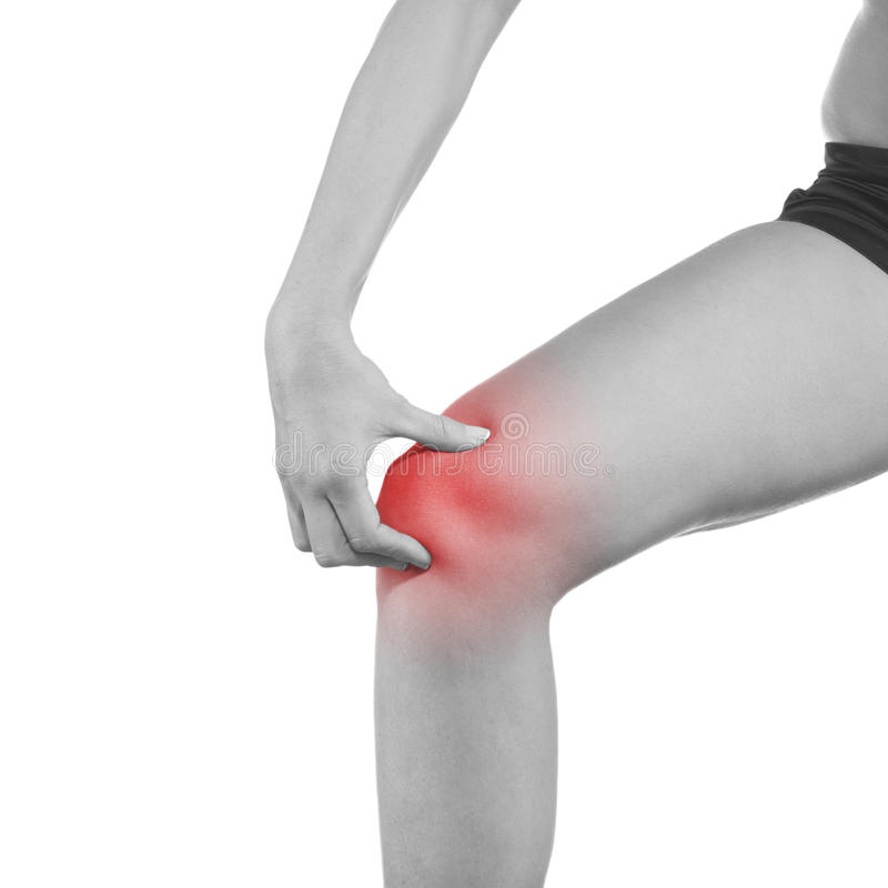 Πόνος στο γόνατο γυναικών στοκ φωτογραφία με δικαίωμα ελεύθερης χρήσης