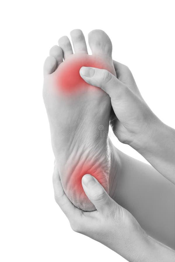 Πόνος στο θηλυκό πόδι στοκ εικόνες