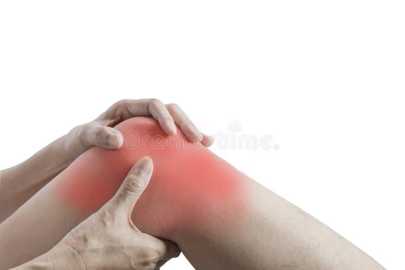 Πόνος σώματος θηλυκό σώμα κινηματογραφήσεων σε πρώτο πλάνο με τον πόνο στα γόνατα στοκ φωτογραφία