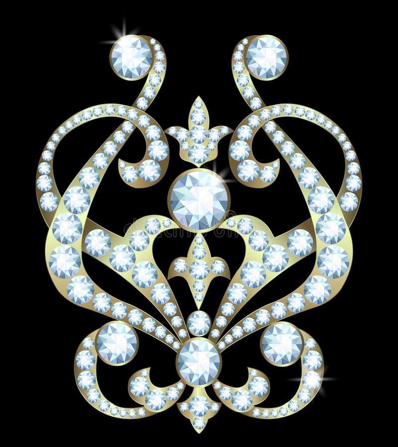 Πόρπη με τα διαμάντια διανυσματική απεικόνιση